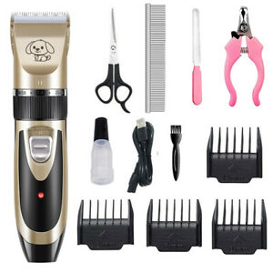 Dog Cat Pet Grooming Kit Rechargeable Cordless Electric Hair Clipper Trimme