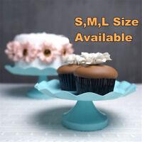 Blue Round Cake Cupcake Stand Pedestal Dessert Holder Wedding Party Decor