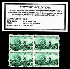 1964  NEW YORK WORLD'S FAIR - Mint NH Block of Four Vintage Postage Stamps
