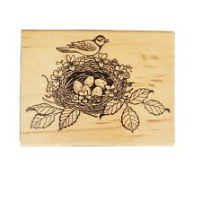 Embossing Arts Co Rubber Stamp Birds BirdNest Wood Mtd