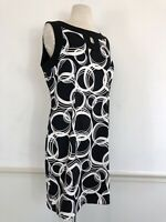 Jessica Howard Size 14 Black White Keyhole Sleeveless Cocktail Sheath  Dress
