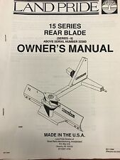Land Pride Operators Manual 15 Series Rear Blade Sn 323660 301 135mused