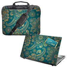 "TaylorHe 15.6"" Laptop Shoulder Bag Handles Strap & PERSONALISED Skin Bundle"