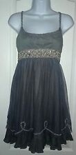 Free People Dress size 6 Gray Jeweled Pearls Embellished Tulle Silver