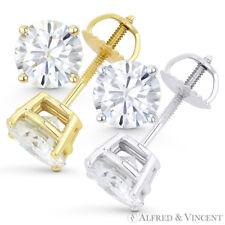 Forever Brilliant 3.00 ct Round Cut Moissanite 14k Gold Screwback Stud Earrings