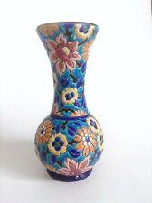 Joli vase Emaux de longwy faïence soliflore