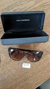 Karl Lagerfeld Paris Sunglasses Havana Brown w/ Hard Case