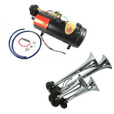 4 Trumpet Chrome Train Air Horn New With 150 PSI 3 Liter Air Compressor 12V