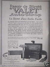PUBLICITÉ 1920 RASOIR DE SURETÉ VALET AUTO STROP SAFETY RAZOR - ADVERTISING
