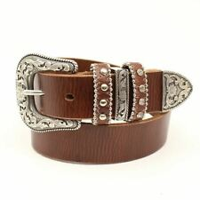 Nocona Girls Brown Leather Nailheads - Accessories Belt Kids - N4439802