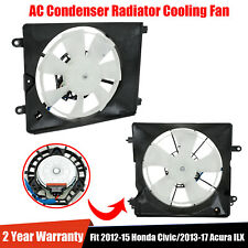 Pair A/C Ac Condenser Radiator Cooling Fan Fit 2012-15 Honda Civic 2013-17 Acura