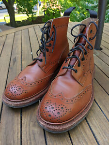 Tricker's Stow brogue boots in Moccasin Brown Aniline Leather, UK 9.5