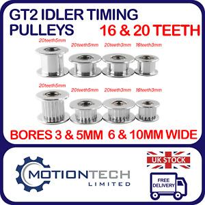 GT2 Idler Timing Pulley T16 & T20 Teeth, Bore 3 & 5mm,Width 6 & 10mm 3D Printer