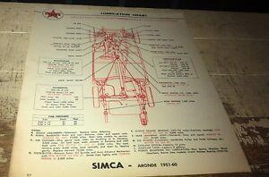 1951 - 1960 SIMCA ARONDE & VEDETTE  -   Caltex Australia Lube Chart