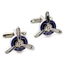 Hélice Gemelos Azul y Plata Metálico Nuevo con Bolsa de Regalo Par Hombres