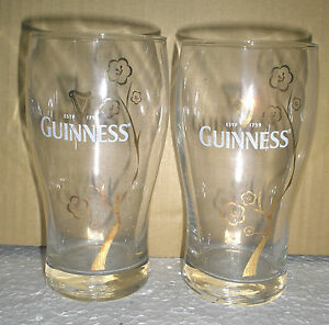 2 Pieces Guinness Stout Gold Flowers Design Drinking Glass Cup