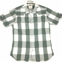 Levi Strauss Men's Western Pearl Snap Short Sleeve Shirt Green Check Size S