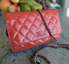 CHANEL small CAMELLIA WOC Pink Patent leather bag handbag purse ladies