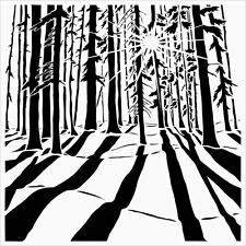 FOREST STENCIL TREES TREE PLANT LEAF PLANTS STENCILS PAINT TEMPLATE ART NEW