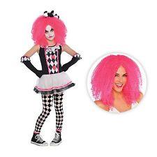 Girls Circus Sweetie Clown Harlequin Jester Halloween Fancy Dress Costume + Wig