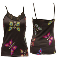 SKELETON BUTTERFLIES STRAPPY VEST LACE NECK TOP GOTHIC  ALTERNATIVE