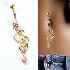 Girl Rhinestone Body Piercing Dangle Crystal Navel Belly Button Bar Barbell Ring