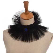 Black Ruffled Renaissance lady Witch Collar Enlightenment theatrical jabot
