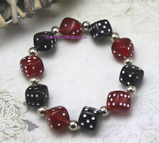 Acrylic Red Black Dice Elasticated Bracelet Poker Tattoo Goth Cosplay Pin Up Roc