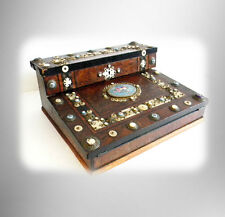 English wood lap desk with detailed pearl and porcelain accents - FREE SHIPPING