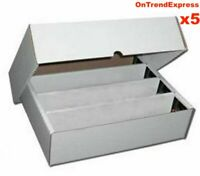 5 x Cardboard 3200ct Trading Card Storage Box with Lid - Holds up to 16000 Cards