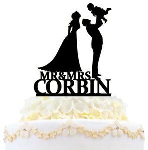 Personalized Family Wedding Cake Topper Mr And Mrs With Kid Last Name Decoration