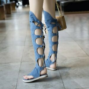 Womens Gladiator Sandals Boots Hollow Out Lace Up Denim Flat Heel Casual Sandals