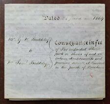 1864 Vellum Indenture Mr Baddeley for Houses in Ranscombe, Brixham