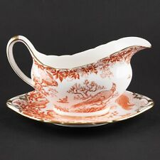 Gravy / Sauce Boat & Underplate | Red Aves Older by Royal Crown Derby of England