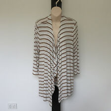 'JACQUI.E' EC SIZE 'L' TAN & CREAM 3/4 SLEEVE STRIPED WATERFALL HEM KNIT TOP