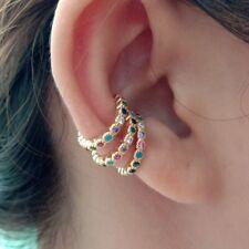 1 par Arco Iris Cubic Zirconia Brazalete de Círculo Pendientes De Clip para mujeres no Perforación del Oído Joyería