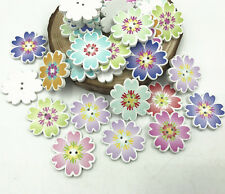 25X Wooden Flowers buttons Sewing Crafts Mix color decoration Scrapbooking 25mm