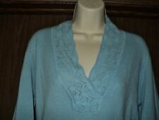 Ann Taylor 100% Cashmere Womens Blue Crochet Shawl Collar Tunic Sweater Medium M