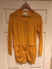 3.1 Phillip Lim Dark Yellow Button Down Belted Cardigan, Size Medium