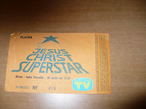 BIGLIETTO TICKET CONCERTO JESUS CHRIST SUPERSTAR MILANO TEATRO SMERALDO 1995
