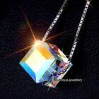 Navidad Para Ella - Plata 925 Cristal Aurora Colgante Collar Novia De Mujer