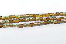 10 Faceted Crystal CUBE Beads, Precision Cut, Metallic TOPAZ, 6mm bgl0609