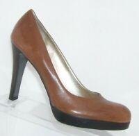 Jessica Simpson brown leather almond toe slip on platform stacked heels 8B