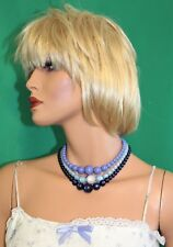 "Vintage Triple Strand Multi Color Graduated Size Bead Choker Necklace - 17"" L"