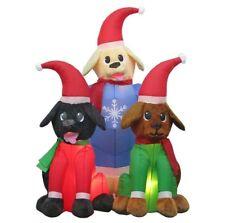 New 4 Ft Inflatable Airblown Plush Lab Puppy Scene Christmas Lights Santa Hat