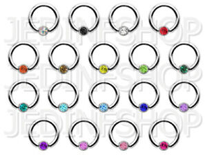 BCR Hoop Ball Closure Ring CBR | 2.4mm (10g) - 12mm | Rotatable Gem - 18 Colours