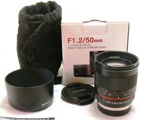 Samyang 50mm f/1.2 AS UMC CS lens black, Fuji X mount, boxed MINT #38361