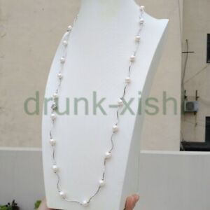 8-9mm South Sea Round White Pearl Necklace 29 Inch 14k Gold P
