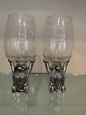 Pottery Barn Gnome Wine Glass Set Of 2 Christmas Tabletop Serving New Silver