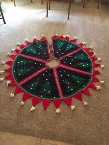 Vintage Felt Christmas Tree Skirt Red, Black & White Buttons Tassels & Trees